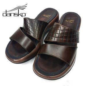 Dansko Leather Slide Brown Sandal 36
